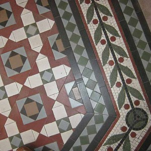 Rictor Norton & David Allen Follow St Pancras Renaissance Hotel  Minton tiles at the bottom of the staircase